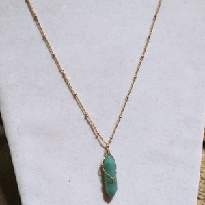 Nwt Anthro 14k wrapped Aventurine Necklace